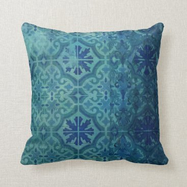 Beach Themed Old Havana Vintage Aqua Ocean Blue Beach Pattern Throw Pillow
