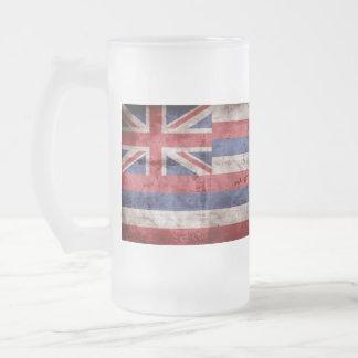 Old Hawaiian Flag; Frosted Glass Beer Mug