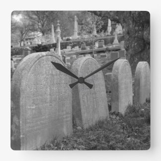 old headstones square wall clock