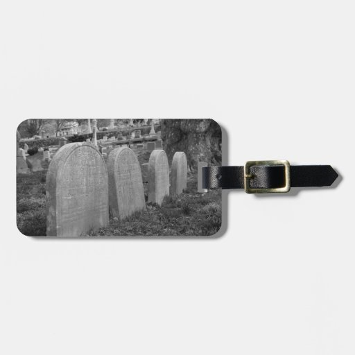 old headstones travel bag tag