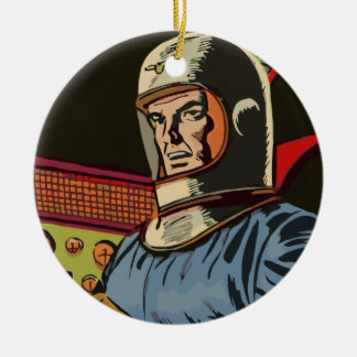 Old hero from the future christmas ornaments