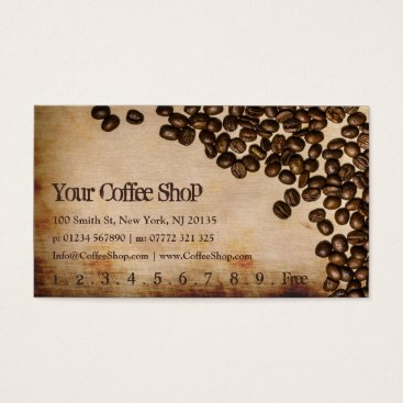 Coffee Themed Old Hessian Coffee Bean Photo - Punch Card