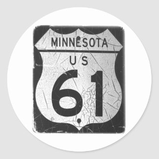 Old Highway 61 sign Classic Round Sticker