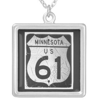 Old Highway 61 Sign Square Pendant Necklace