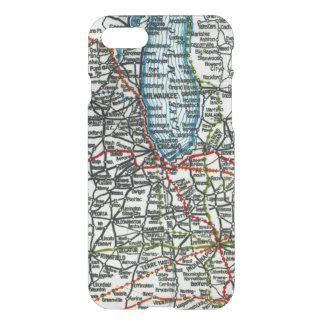 Old Highway Map Chicago Milwauke and Lake Michigan iPhone 8/7 Case