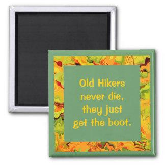 old hikers joke 2 inch square magnet