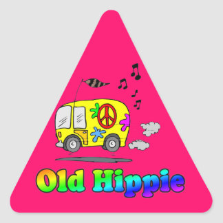 Old Hippie Bus Triangle Sticker