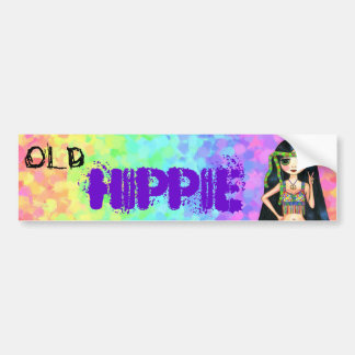 Old Hippie Cute 1960s Psychedelic Big Eye Girl Car Bumper Sticker
