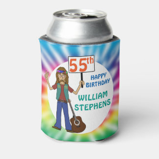 Old Hippie Hippy Tie Dye 55th Birthday Party Can Cooler