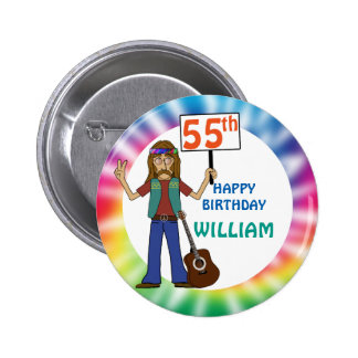Old Hippie Hippy Tie Dye 55th Birthday Party Pinback Button