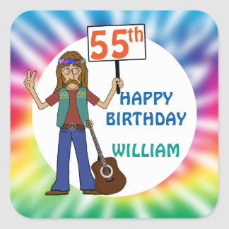Old Hippie Hippy Tie Dye 55th Birthday Party Square Sticker