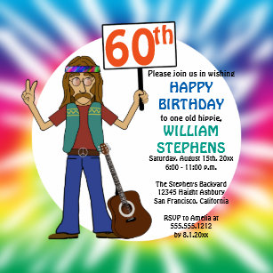 old hippie hippy tie dye 60th birthday party invitation