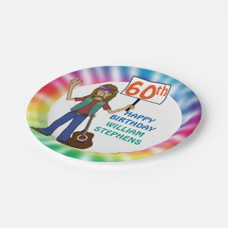 Old Hippie Hippy Tie Dye 60th Birthday Party Paper Plate