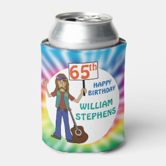 Old Hippie Hippy Tie Dye 65th Birthday Party Can Cooler