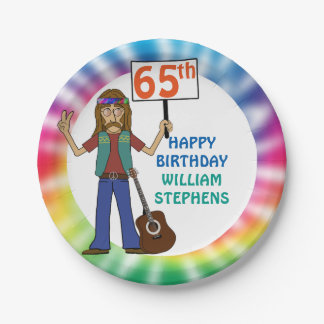 Old Hippie Hippy Tie Dye 65th Birthday Party Paper Plate