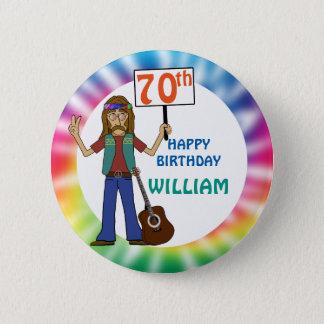 Old Hippie Hippy Tie Dye 70th Birthday Party Pinback Button