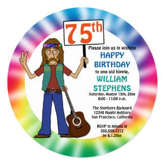 Old Hippie Hippy Tie Dye 75th Birthday Party Card