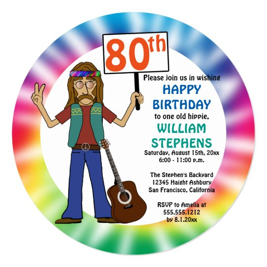 old hippie hippy tie dye 80th birthday party invitation