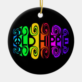 OLD HIPPIE ornament, customize Double-Sided Ceramic Round Christmas Ornament