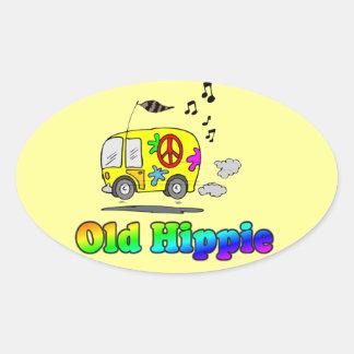 Old Hippie Oval Sticker