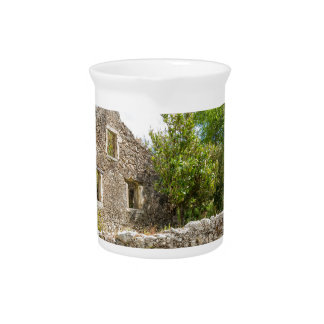 Old historic house as ruins along road beverage pitcher