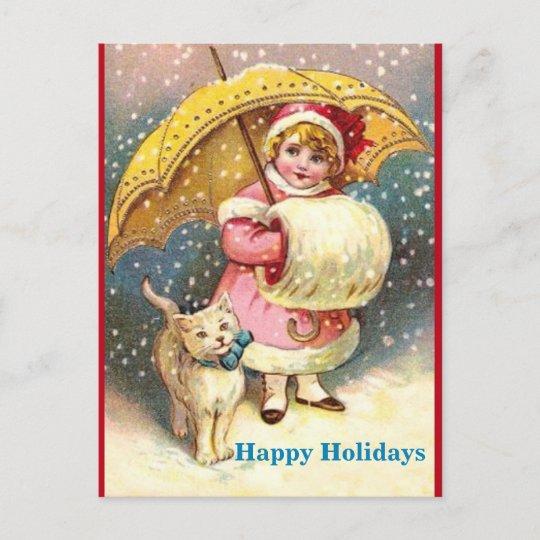 Old Holiday Image Girl, Snow ,Cat ,Yellow Umbrella