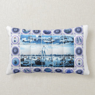 Old Holland Delft Blue/ Delftware Style Tile Mural Throw Pillow