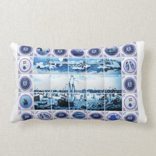 Old Holland Delft Blue/ Delftware Style Tile Mural Throw Pillow Zazzle