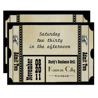 Old Hollywood Broadway Ticket Wedding RSVP Card
