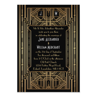 Old Hollywood Gatsby Style Wedding Invitation