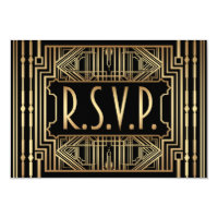 Old Hollywood Gatsby Style Wedding RSVP Card