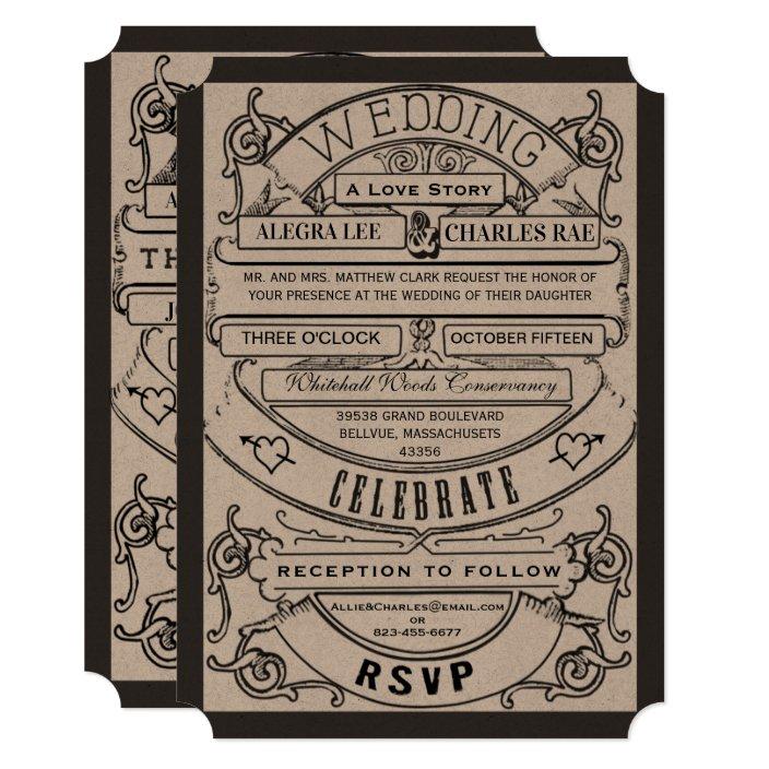 Typography Ticket Wedding Invite