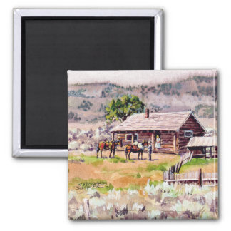 OLD HOMESTEAD by SHARON SHARPE 2 Inch Square Magnet