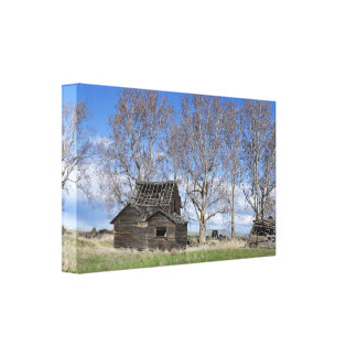 Old Homestead in the Trees Wrapped Canvas