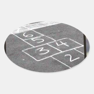 Old hopscotch game oval sticker