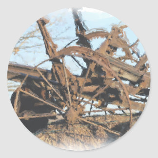 Old horse pulled tractor classic round sticker