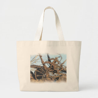 Old horse pulled tractor large tote bag