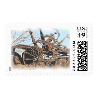 Old horse pulled tractor postage
