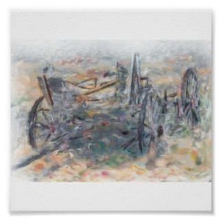 OLD HORSE WAGON wet in wet water color Painting Poster
