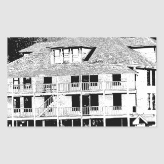 Old Hotel in the Mountains Sketch Rectangular Sticker