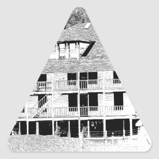Old Hotel in the Mountains Sketch Triangle Sticker