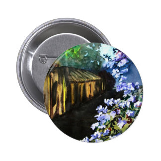 Old House and New Flowers Pinback Buttons