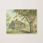 [ Thumbnail: Old House and Tree Scene Vintage Look Puzzle ]