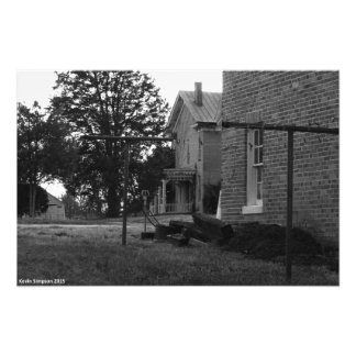 Old House Black and White Photograph Photo Print