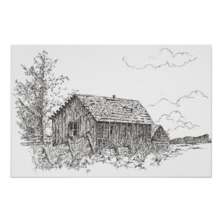 Old House Black White Ink Pen Drawing Poster