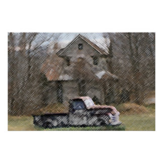 Old House & Pick Up Poster