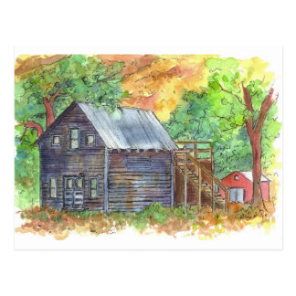 Old House Red Barn Pen and Ink Sketch Postcard
