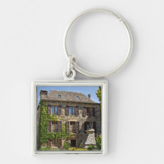 Old House Silver-Colored Square Keychain