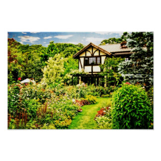 Old House with Lovely English Garden Verdant Lawn Print