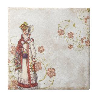 Old illustration of a girl tile